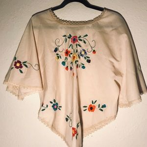 Vintage bohemian embroidered poncho blouse